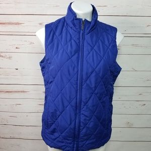 Jason Maxwell Sleeveless Quilted Zip Up Blue Vest